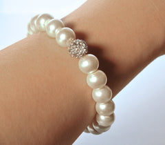 Katie's Style Simulated Pearl Pave Crystal Ball Bridal Stretch Bracelet