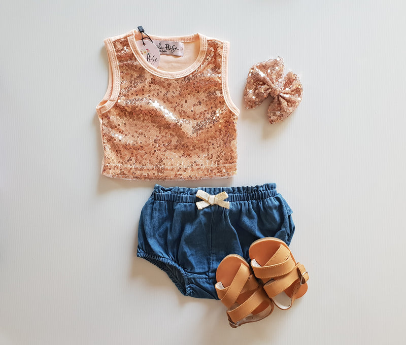 Rose Gold Sequin Crop Top