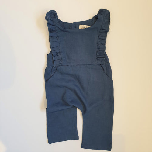 Ruffle Jumpsuit | Duck Blue