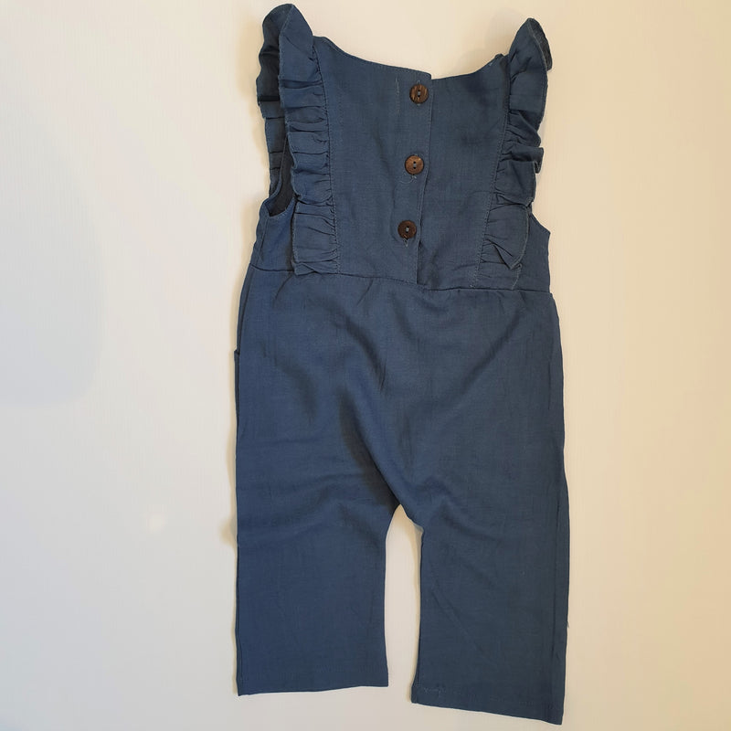 Linen Ruffle Jumpsuit | Duck Blue