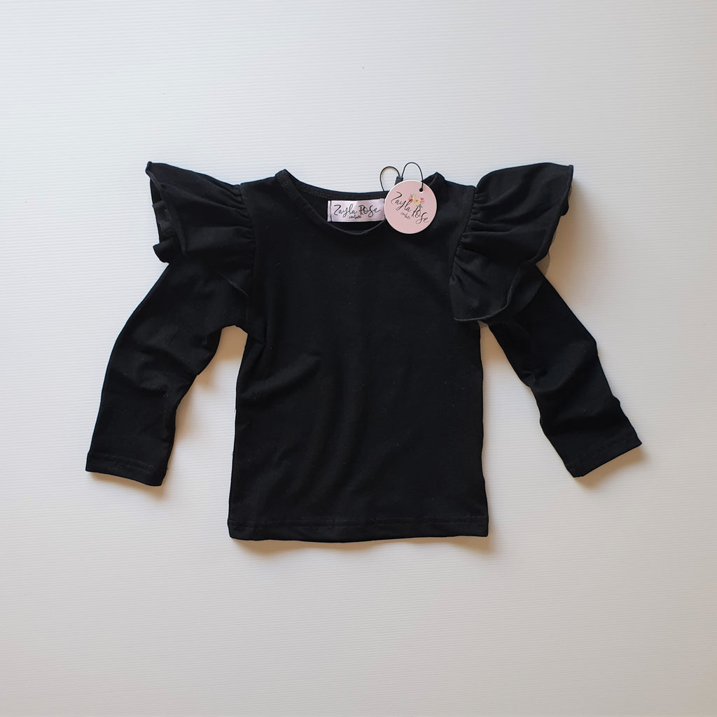 Tulle Flutter Top L/S - Black