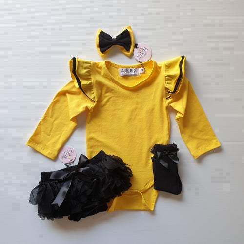 Flutter Sleeve Romper / Top L/S - Wiggle Yellow