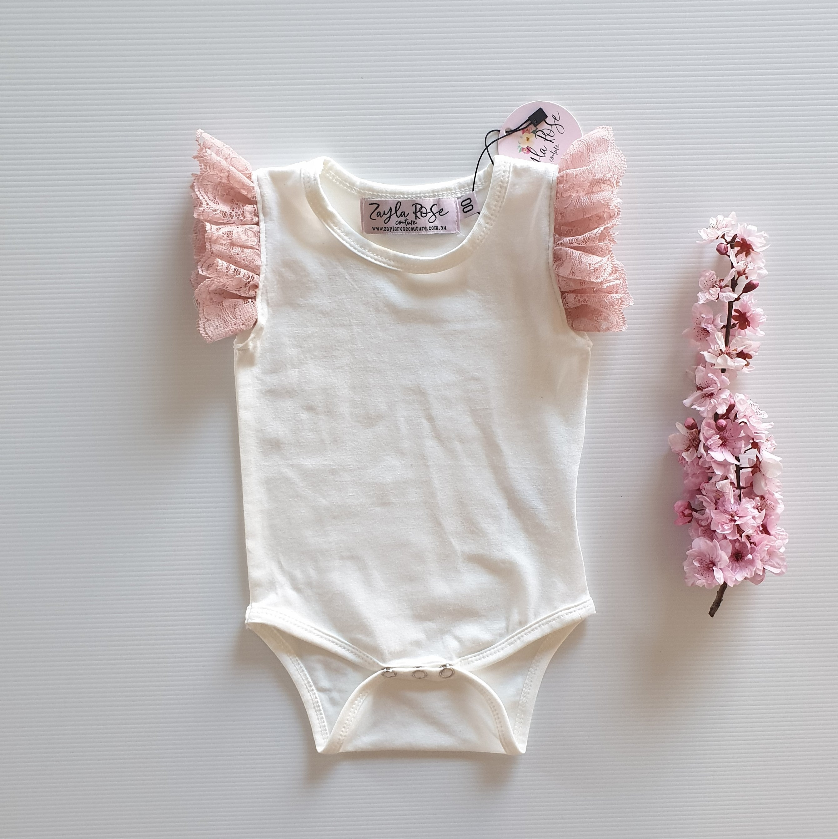 Ivory & Dusty Rose Lace Flutter Romper