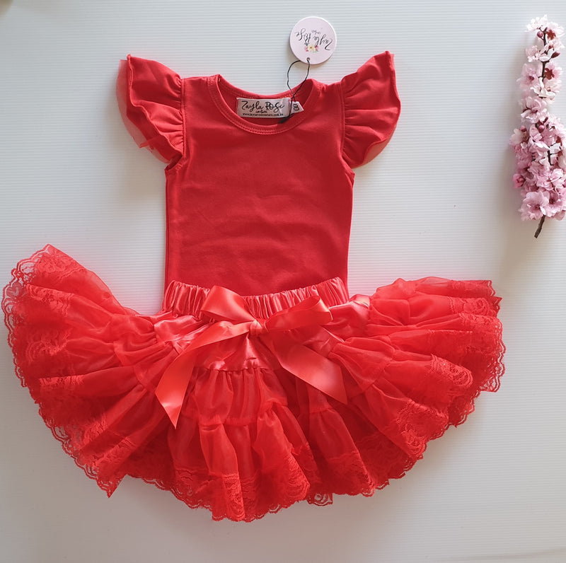 Red Flutter Romper