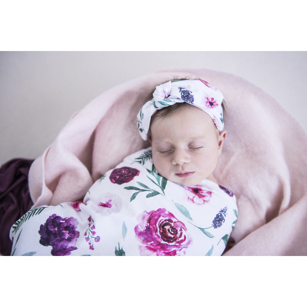 Peony Bloom I Snuggle Swaddle & Topknot Set