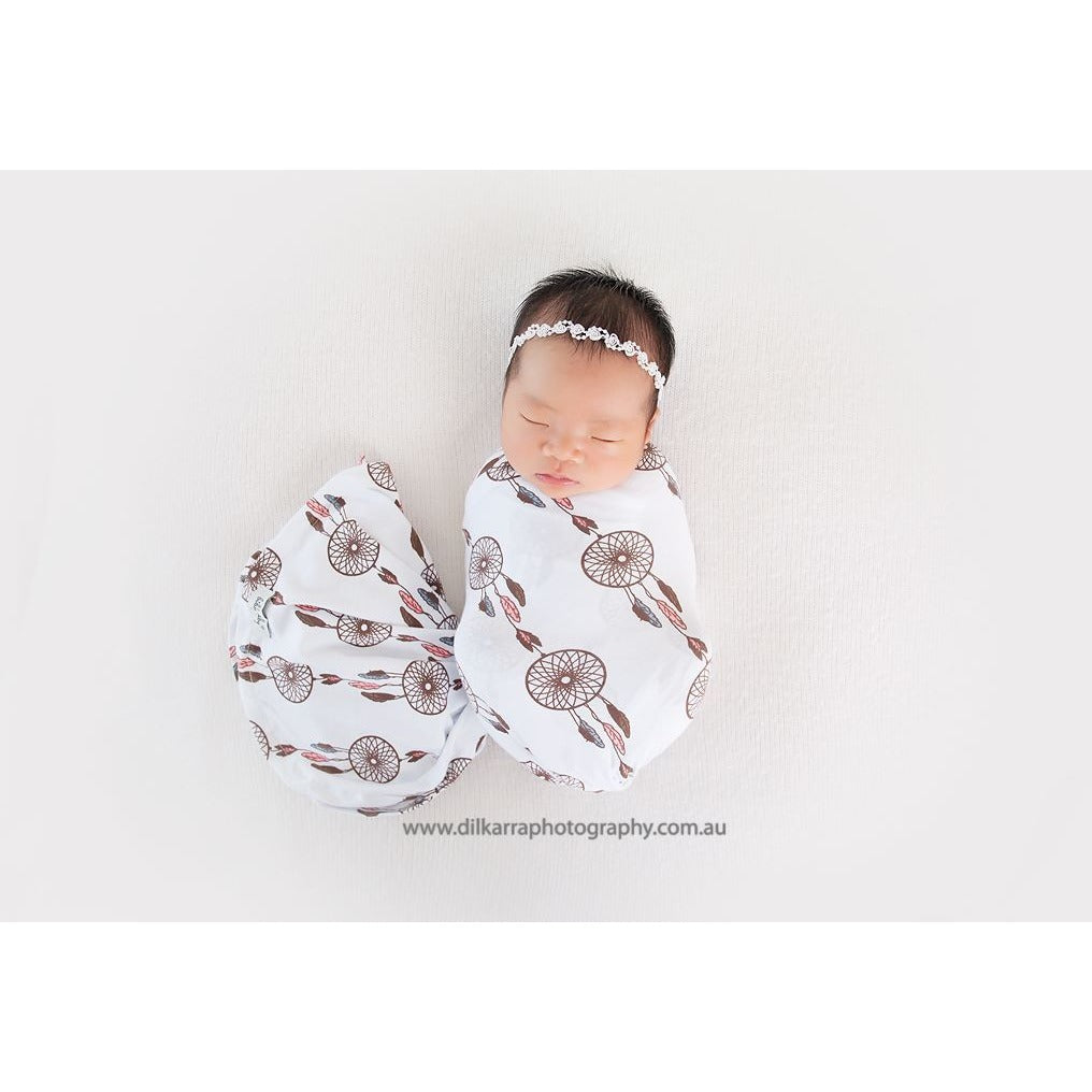 Baby Bundle I Swaddle Sack with matching Beanie, Topknot & Wrap - Dreamcatcher