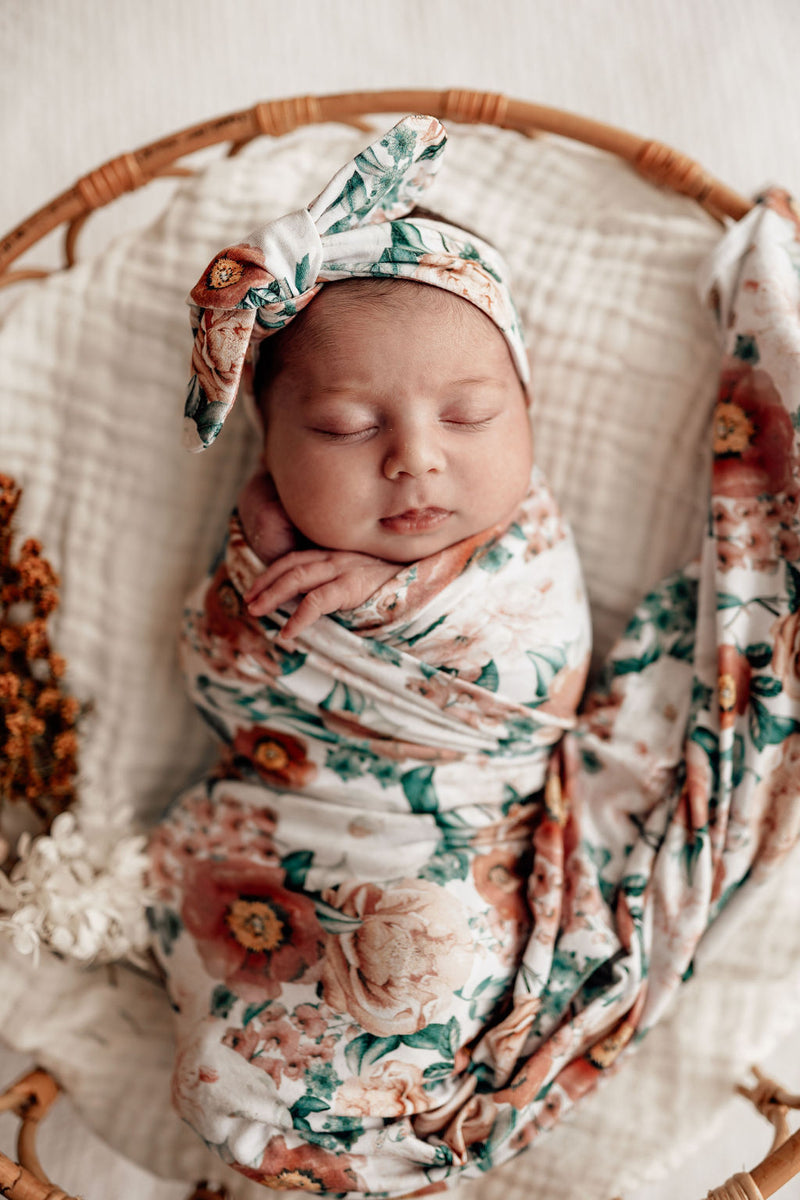 Florence | Baby Jersey Wrap & Topknot Set