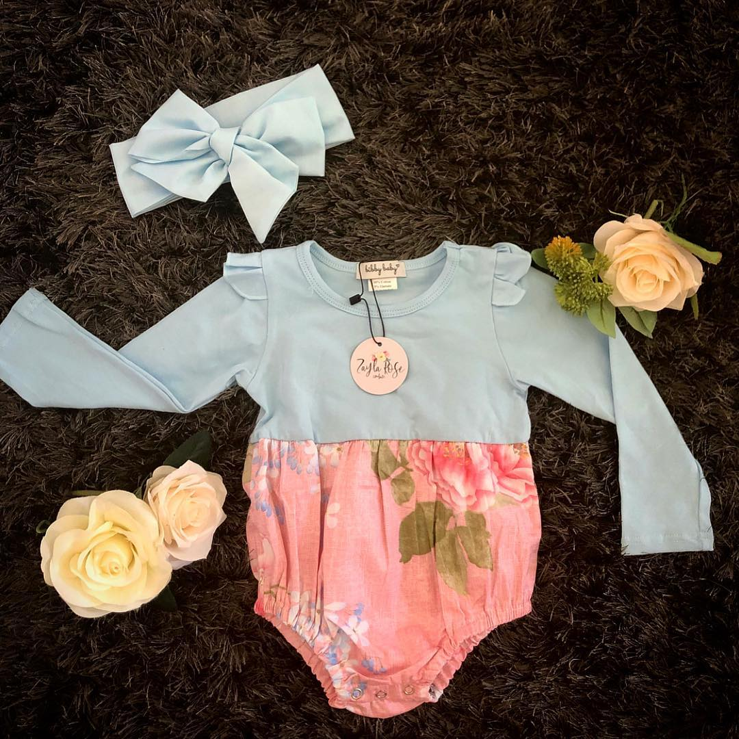 Autumn Romper L/S - Pink Floral & Light Blue