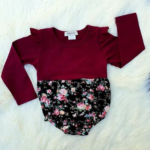Autumn Romper L/S - Black Floral & Wine