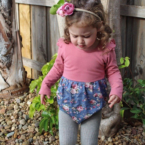 Autumn Romper L/S - Blue Floral & Dusty Rose