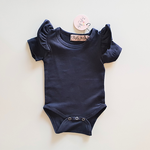 Cap Sleeve Flutter Romper - Washed Navy
