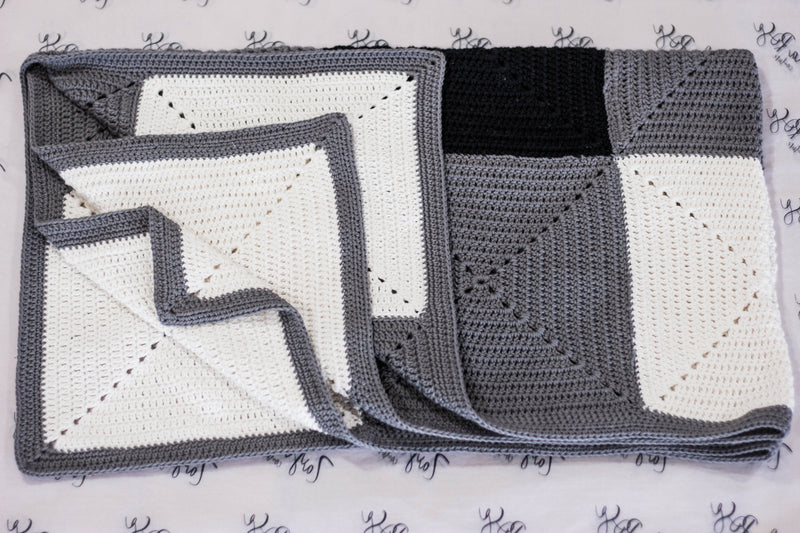 Crocheted Blanket - White, Grey and Black