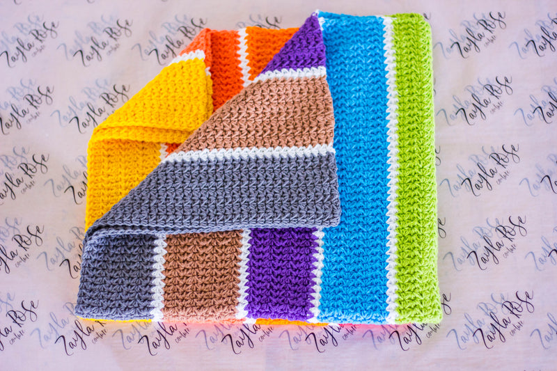 Crocheted Blanket - Rainbow Pattern!
