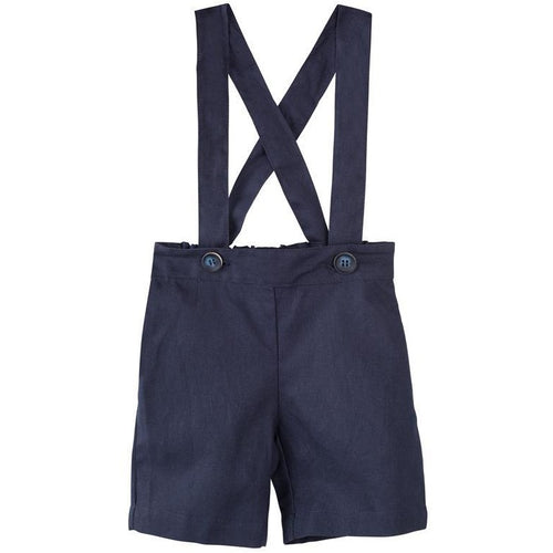 TOBY SUSPENDER SHORTS - NAVY LINEN