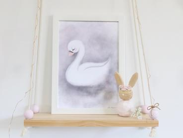Angel Swan Print In Smokey Grey