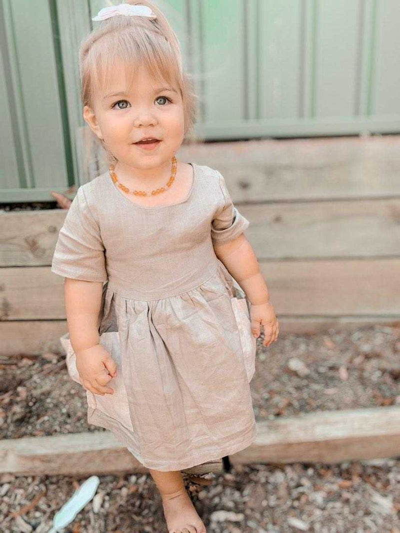 Handmade Linen Pocket Dress | Sandstone