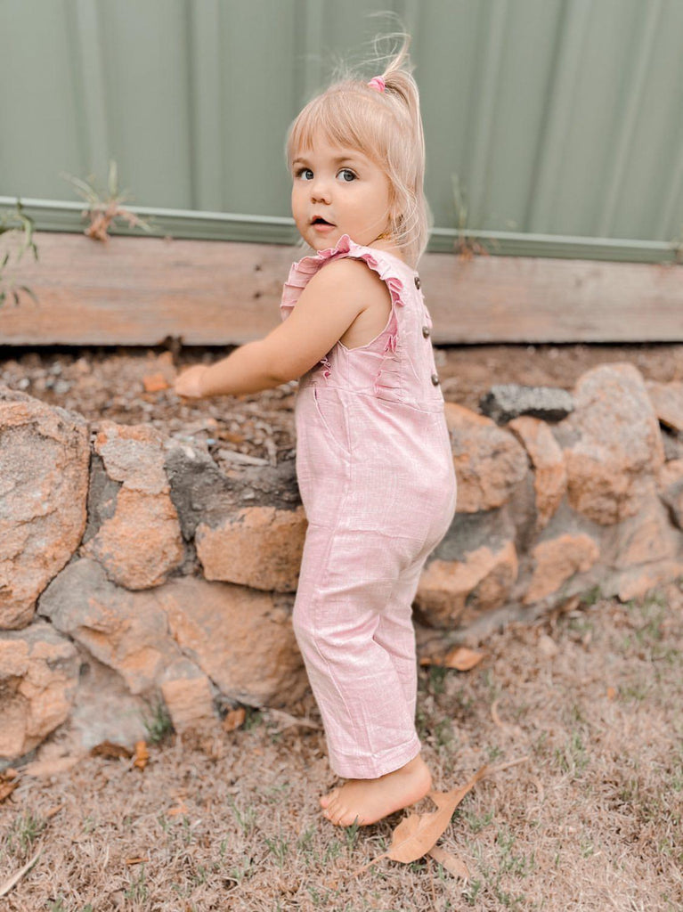 Linen Ruffle Jumpsuit | Rose Blush