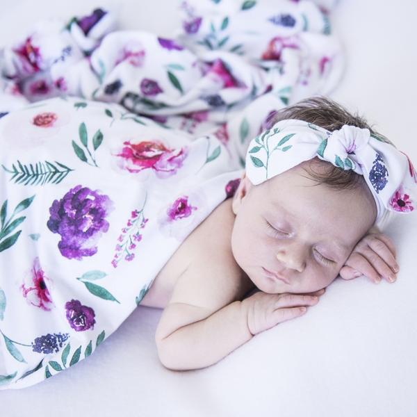 Peony Bloom I Baby Jersey Wrap & Topknot Set