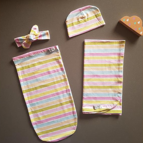 Baby Bundle I Swaddle Sack with matching Beanie, Topknot & Wrap - Stripes