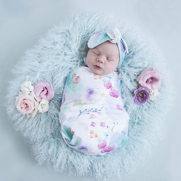Sweet Petal I Snuggle Swaddle with Topknot Headband