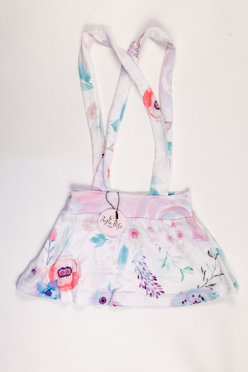 Suspender Skirt - White Floral