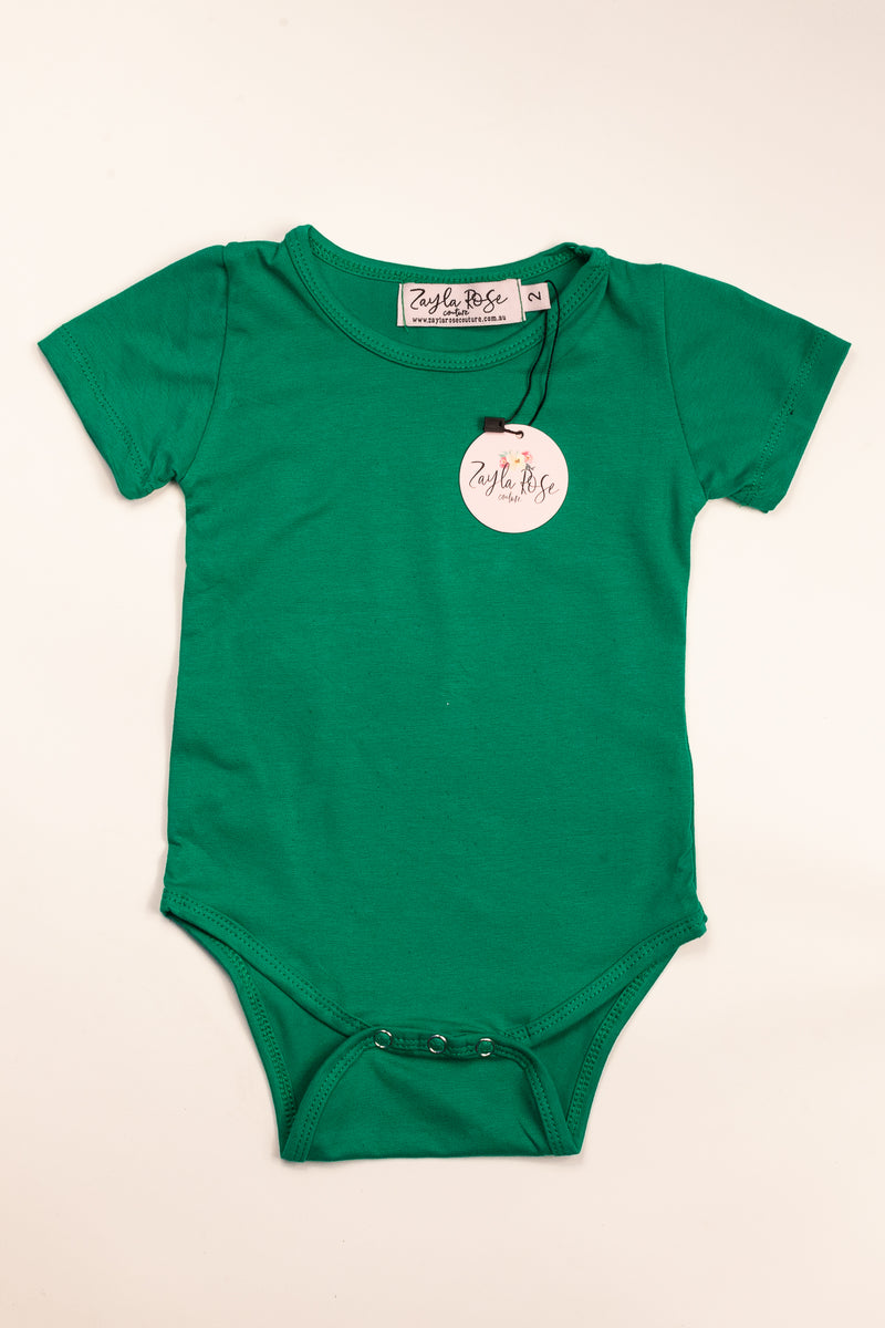 Green Plain Romper/Shirt