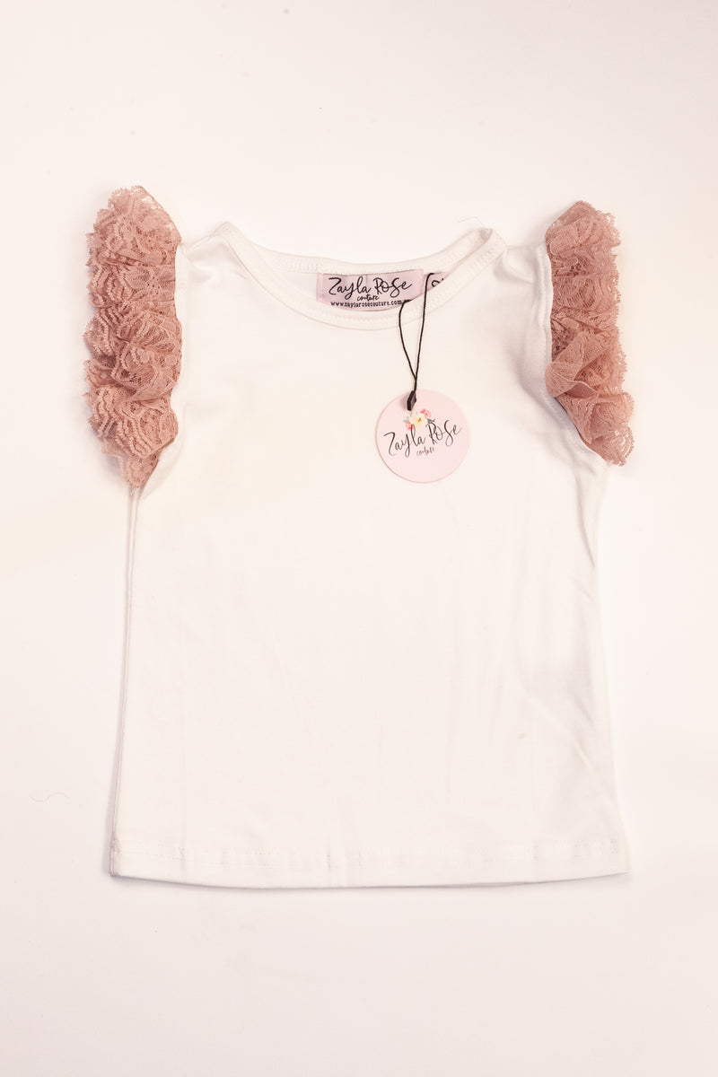 Ivory & Dusty Rose Lace Flutter Romper/Shirt