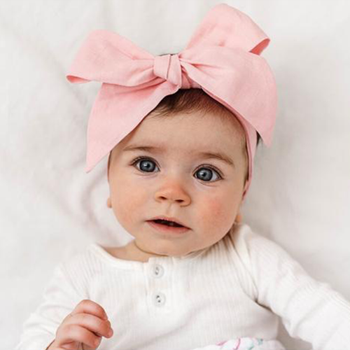Baby Pink Linen Bow Pre-Tied Headband Wrap