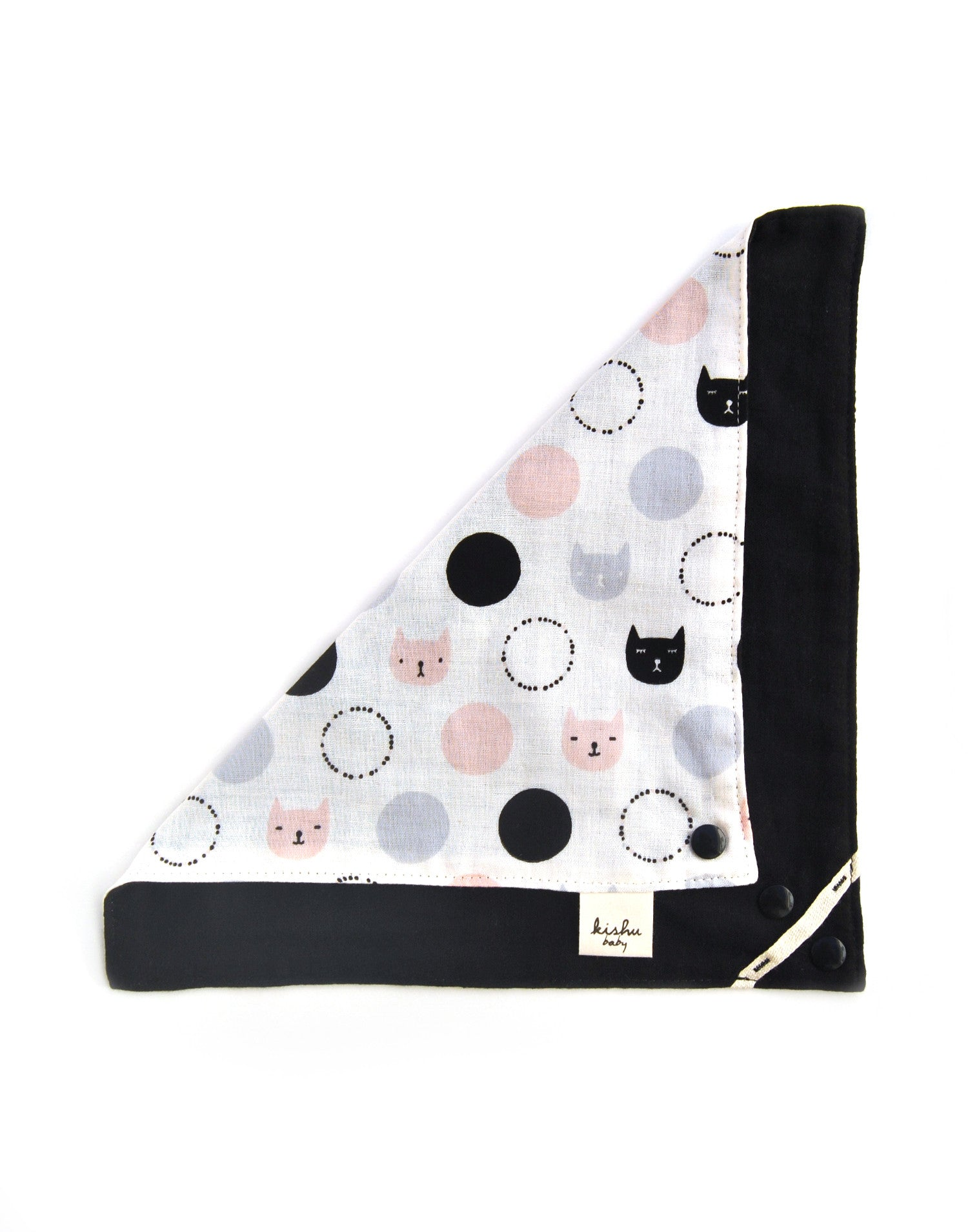 Girls Bandana Bib | Reversible Kitty Cat - Bibby Baby