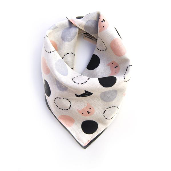 Girls Bandana Bib | Reversible Kitty Cat