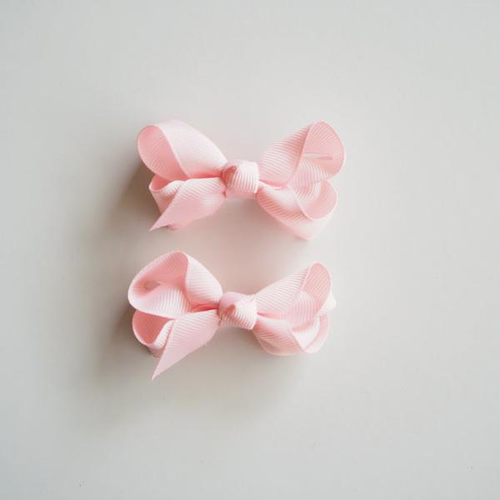 Light Pink Clip Bow - Small Piggy Tail Pair