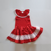 Handmade Red Circle Skirt w Crochet Trim
