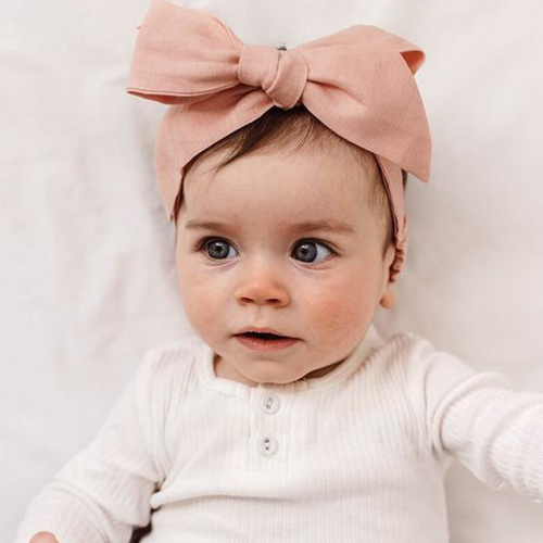 Rust Linen Bow Pre-Tied Headband Wrap