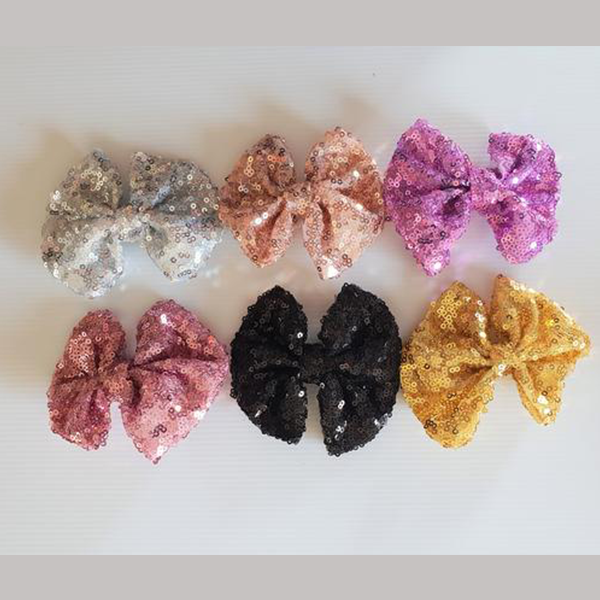 Sequin Bow Clip - Assorted Colours