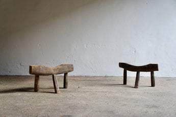 PAIR OF BRUTALIST FRENCH STOOLS / TRESTLES