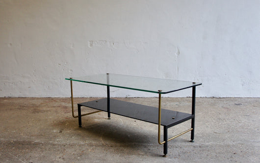 MIDCENTURY FRENCH GLASS COFFEE TABLE