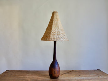 1950'S CARVED WOODEN LAMP