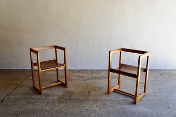 MODERNIST PINE AND LEATHER CHAIRS