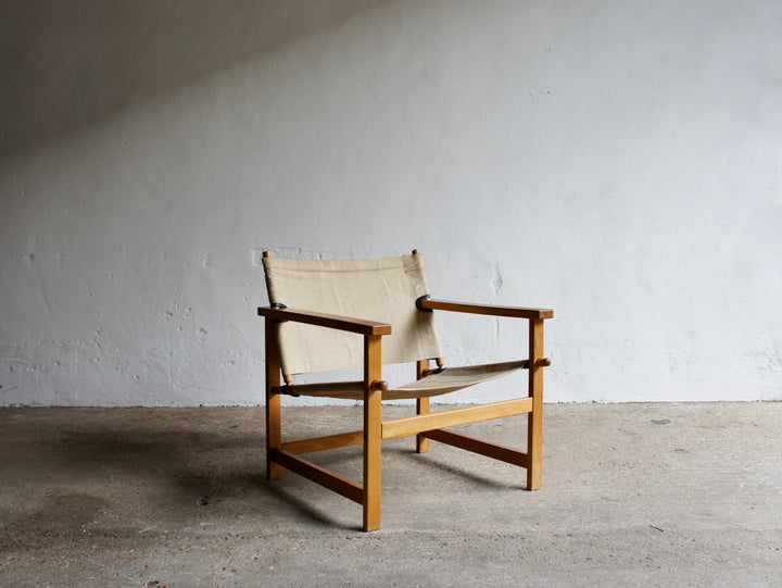 HYLLINGE MOBLER BEECH AND CANVAS CHAIR