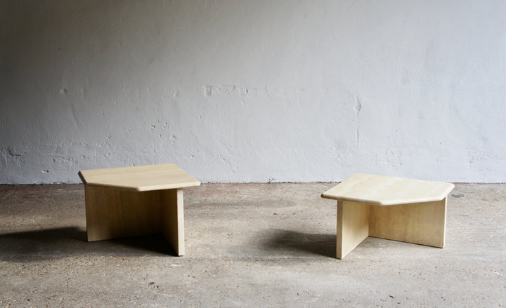 PAIR OF NESTING TRAVERTINE TABLES