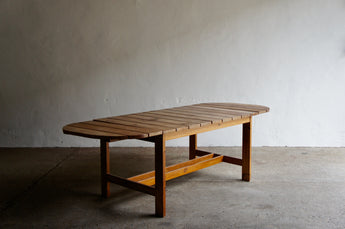 SLATTED PINE DANISH DINING TABLE