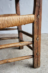 RUSTIC FRENCH RUSH ARMCHAIR