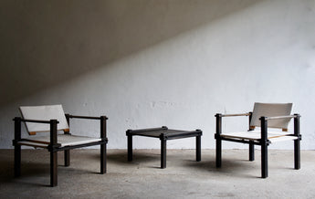 FARMER SAFARI CHAIRS AND COFFEE TABLE SET BY GERD LANGE FOR BOFINGER