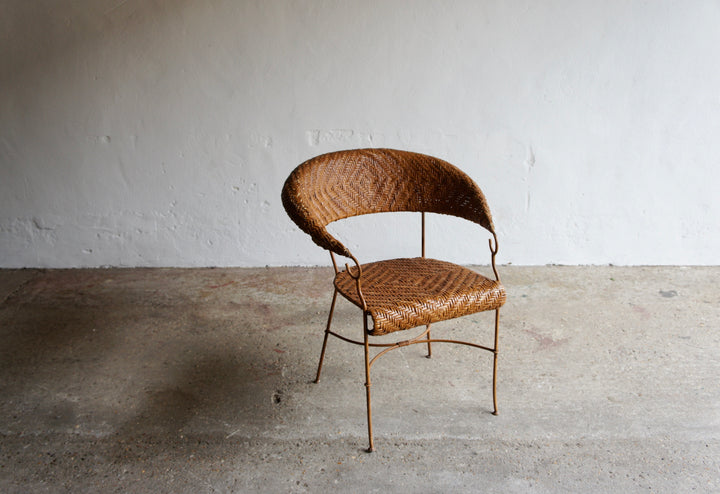 FRENCH RATTAN WEAVE ARMCHAIR