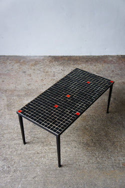 1960'S BLACK & RED TILED SIDE TABLE