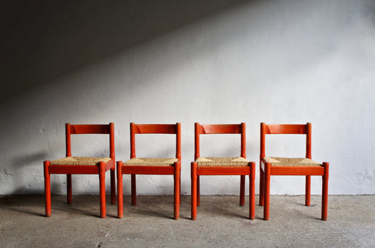 RED CARIMATE DINING CHAIR SET BY VICO MAGISTRETTI