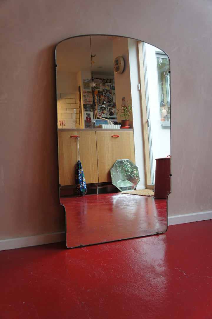LARGE ART DECO FRAMELESS MIRROR