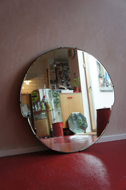 EXTRA LARGE CIRCULAR ART DECO FRAMELESS MIRROR
