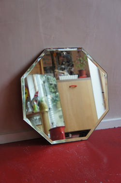 OCTAGONAL ART DECO FRAMELESS MIRROR