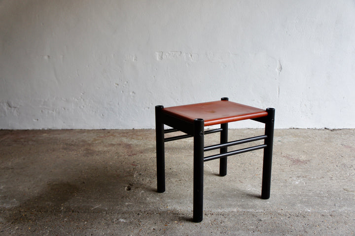 ITALIAN IBISCO LEATHER STOOL, 1970'S